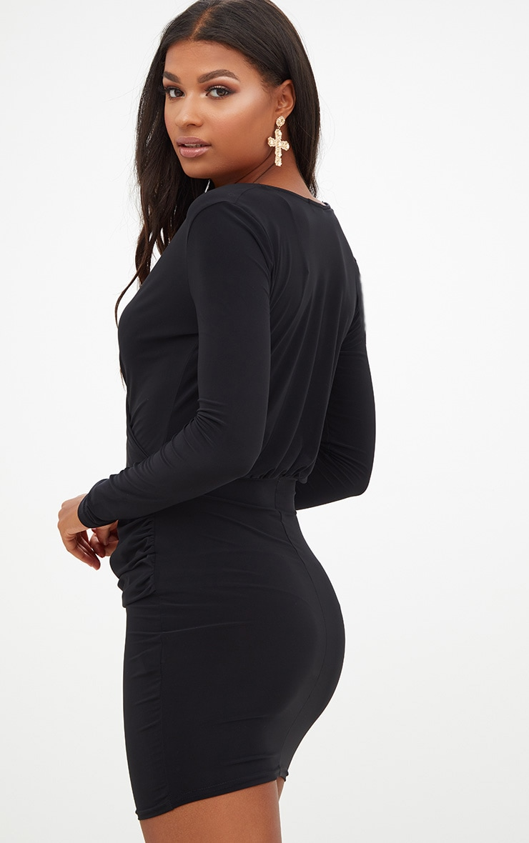 Black Slinky Ruched Wrap Over Bodycon Dress 2