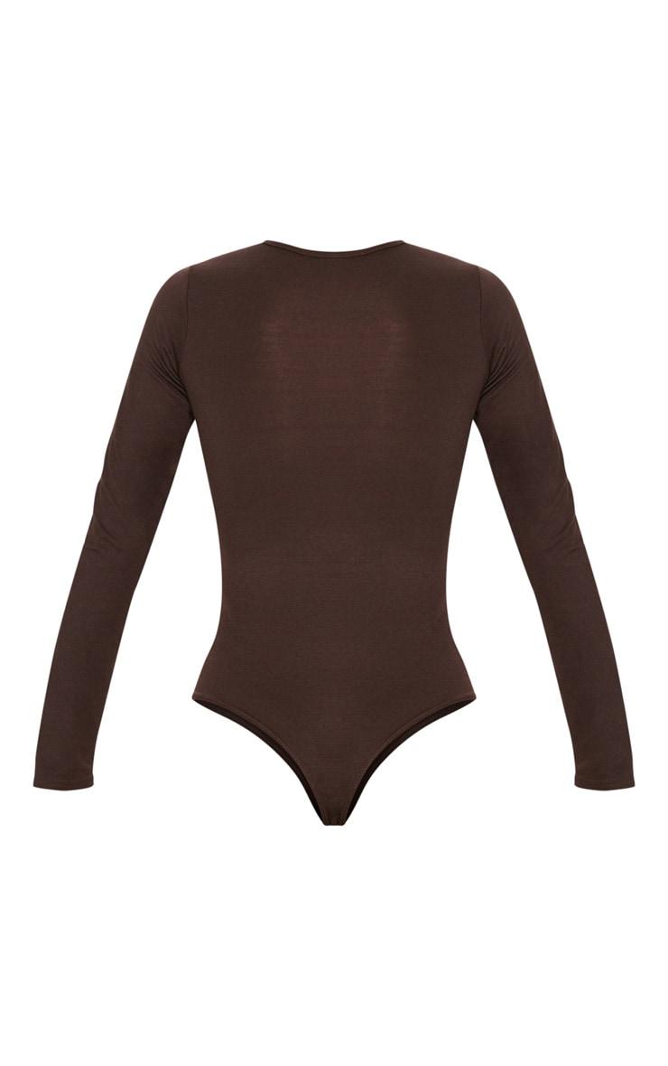 Basic Chocolate Crew Neck Long Sleeve Bodysuit 4