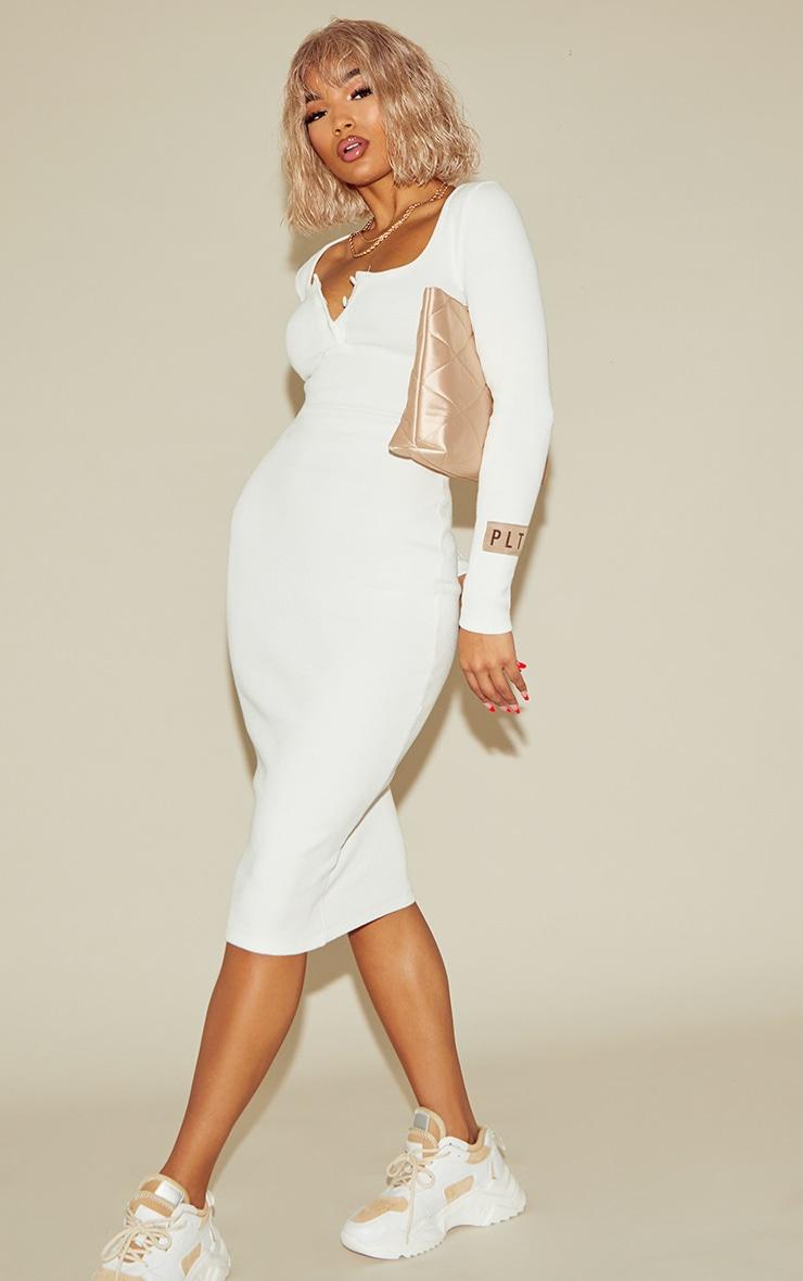 PRETTYLITTLETHING Cream Slogan Rib Button Up Long Sleeve Midi Dress 3
