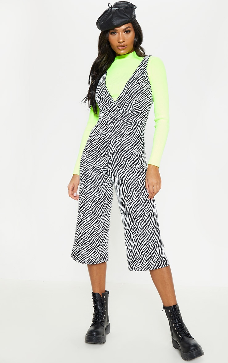 Zebra Print Plunge Jumpsuit  1