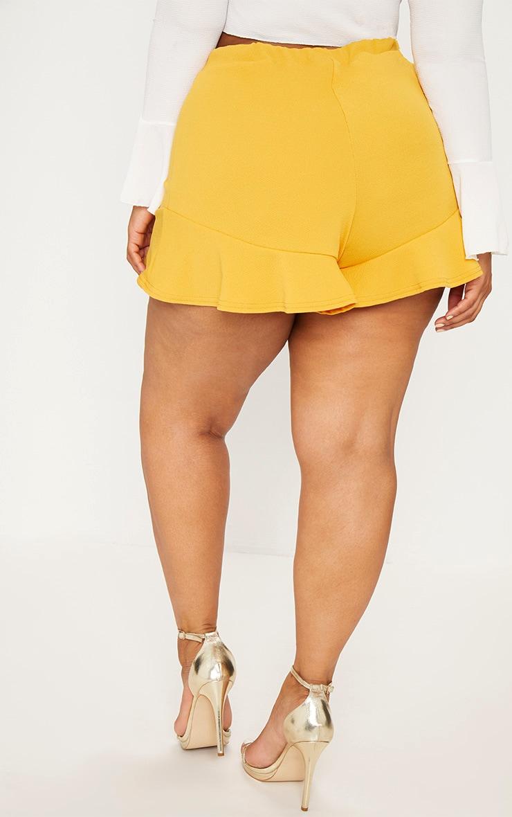 Plus Mustard Frill Hem Shorts 4