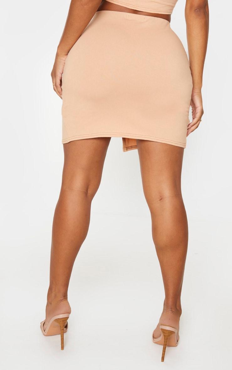 Shape Camel Cotton Split Front Bodycon Skirt 4
