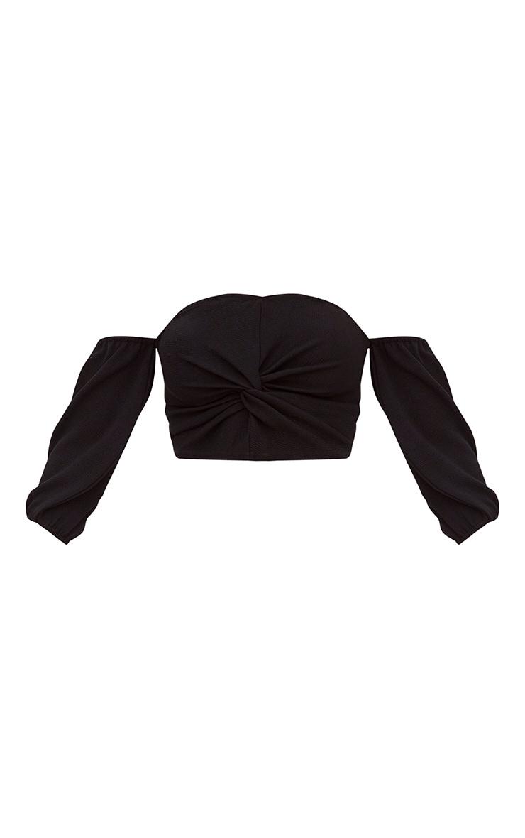 Black Bardot Balloon Sleeve Crop Top  3