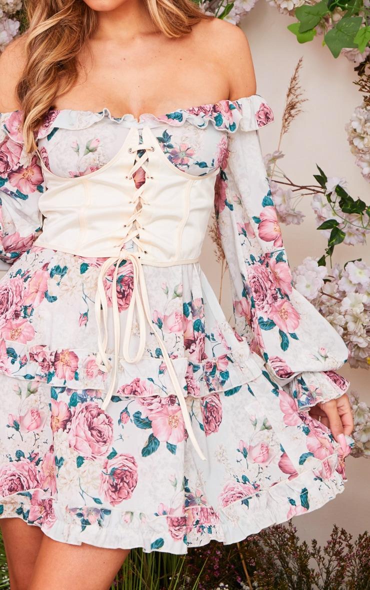 Nude Floral Print Corset Detail Bardot Shift Dress 4