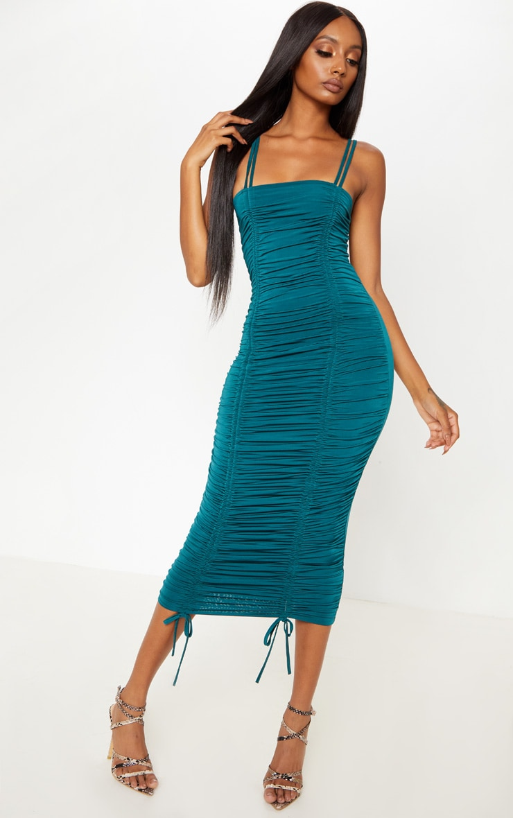 Teal Slinky Ruched Midaxi Dress
