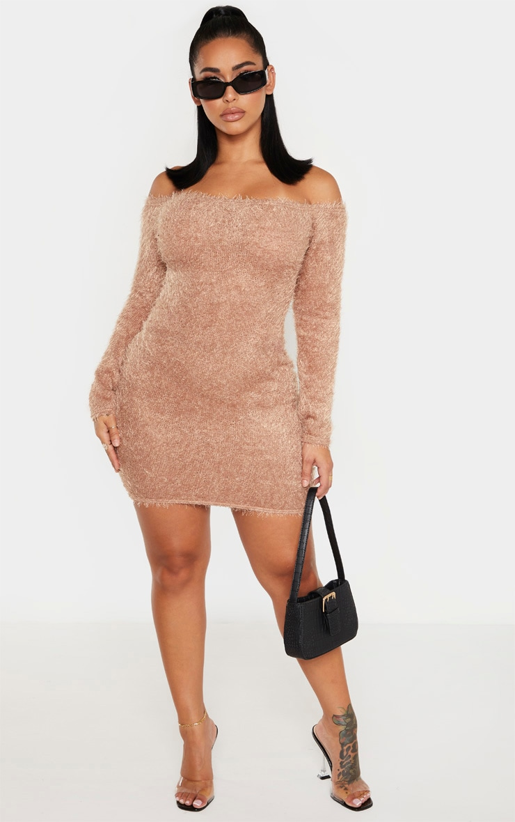Shape Mocha Eyelash Knit Bodycon Dress 4