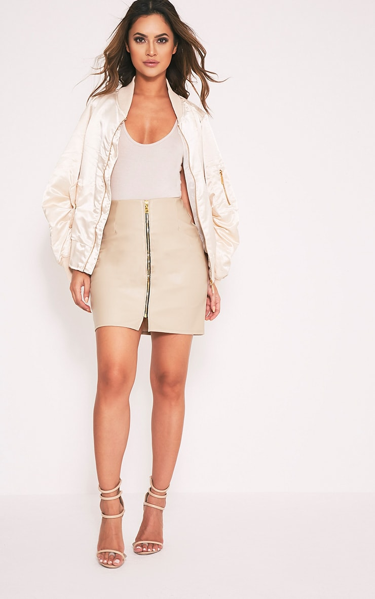 Chandra Stone Faux Leather Zip Front Mini Skirt 6