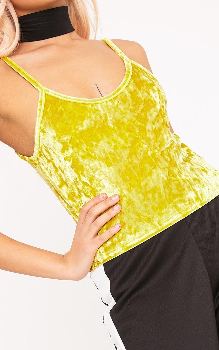Kathleen Yellow Crushed Velvet Cami Crop  Top 4