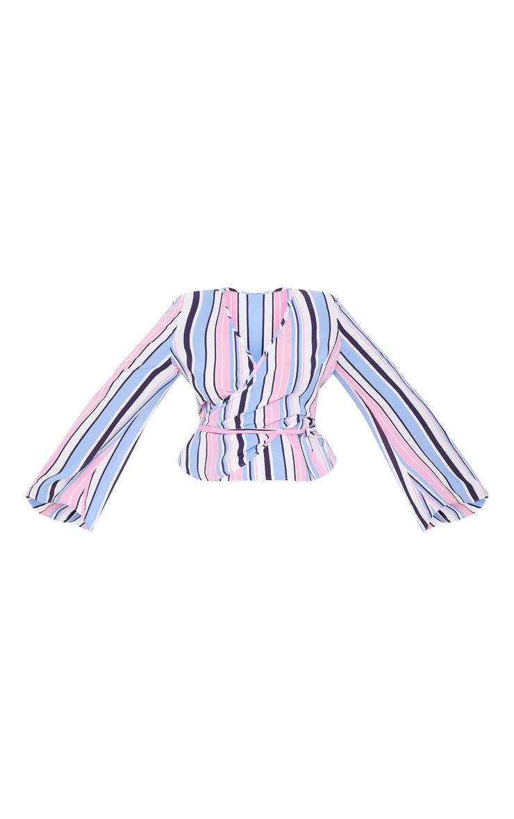 Plus Pink Stripe Wrap Chiffon Top 3