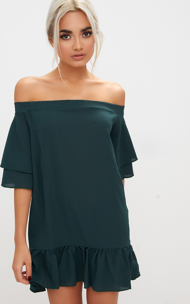 Forest Green Bardot Double Frill Shift Dress 1