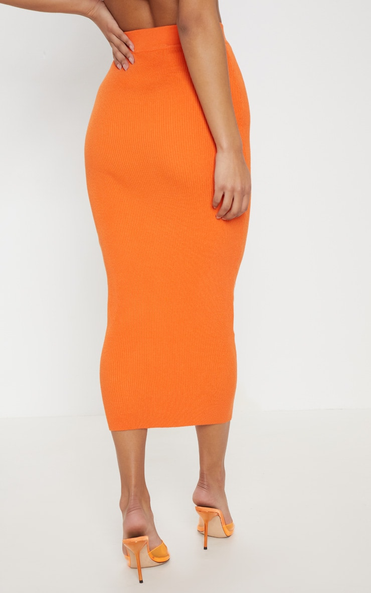 Orange Knitted Ribbed Co Ord 4