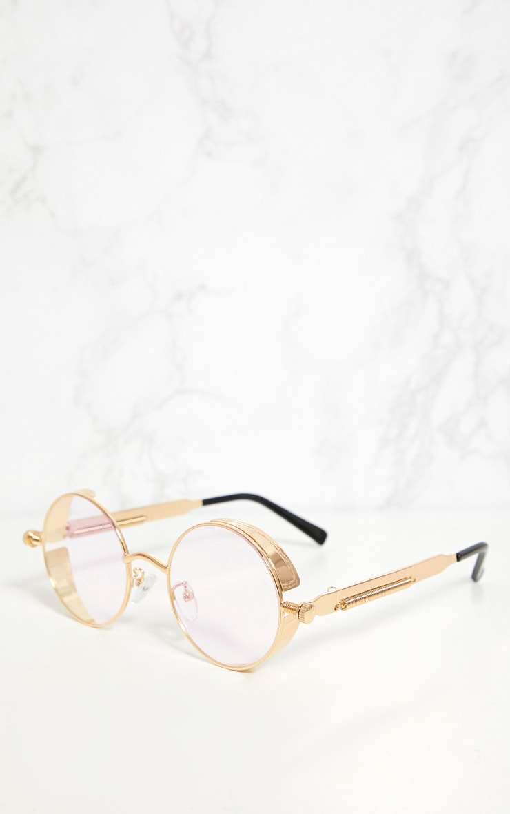 Gold Round Frame Clear Lens Spring Glasses 3