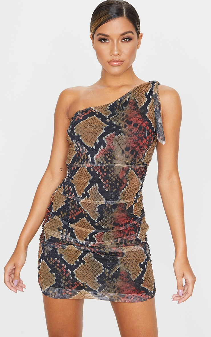 Multi Snake Print One Shoulder Bodycon Dress 1