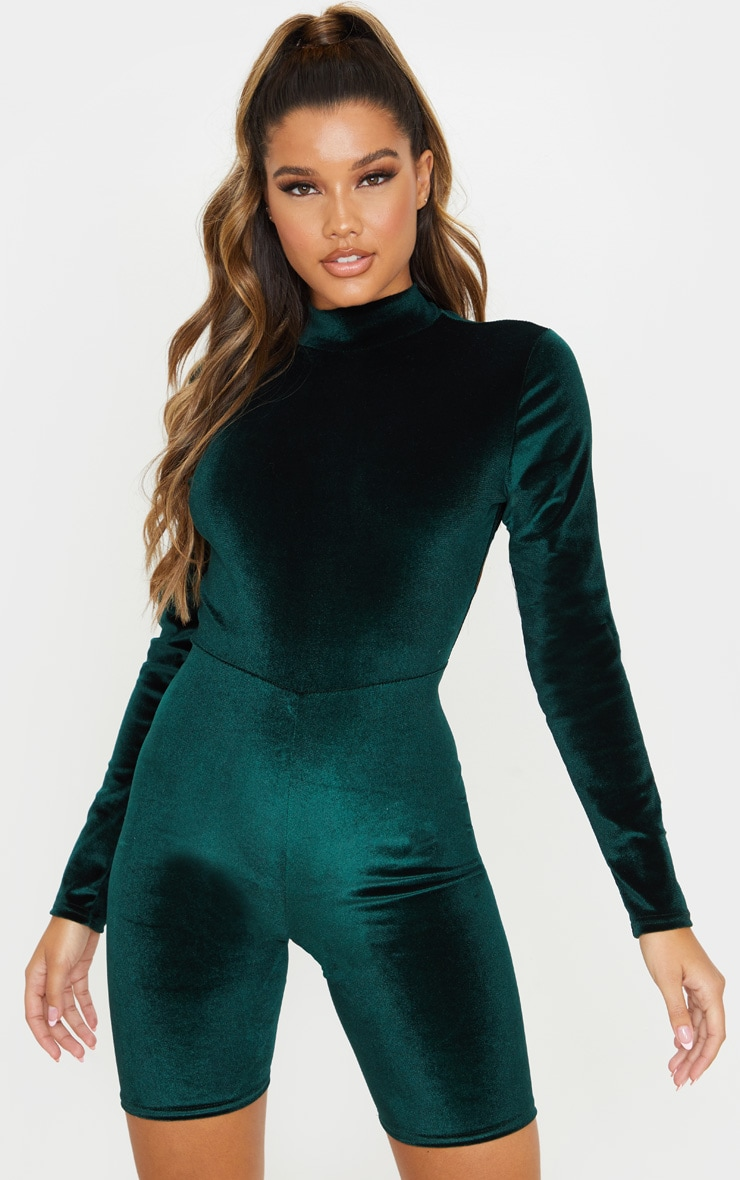 Emerald Green High Neck Velvet Unitard 1