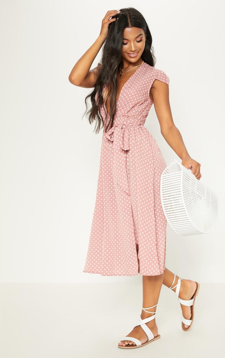 Pink Polka Dot Cap Sleeve Midi Skater Dress 4