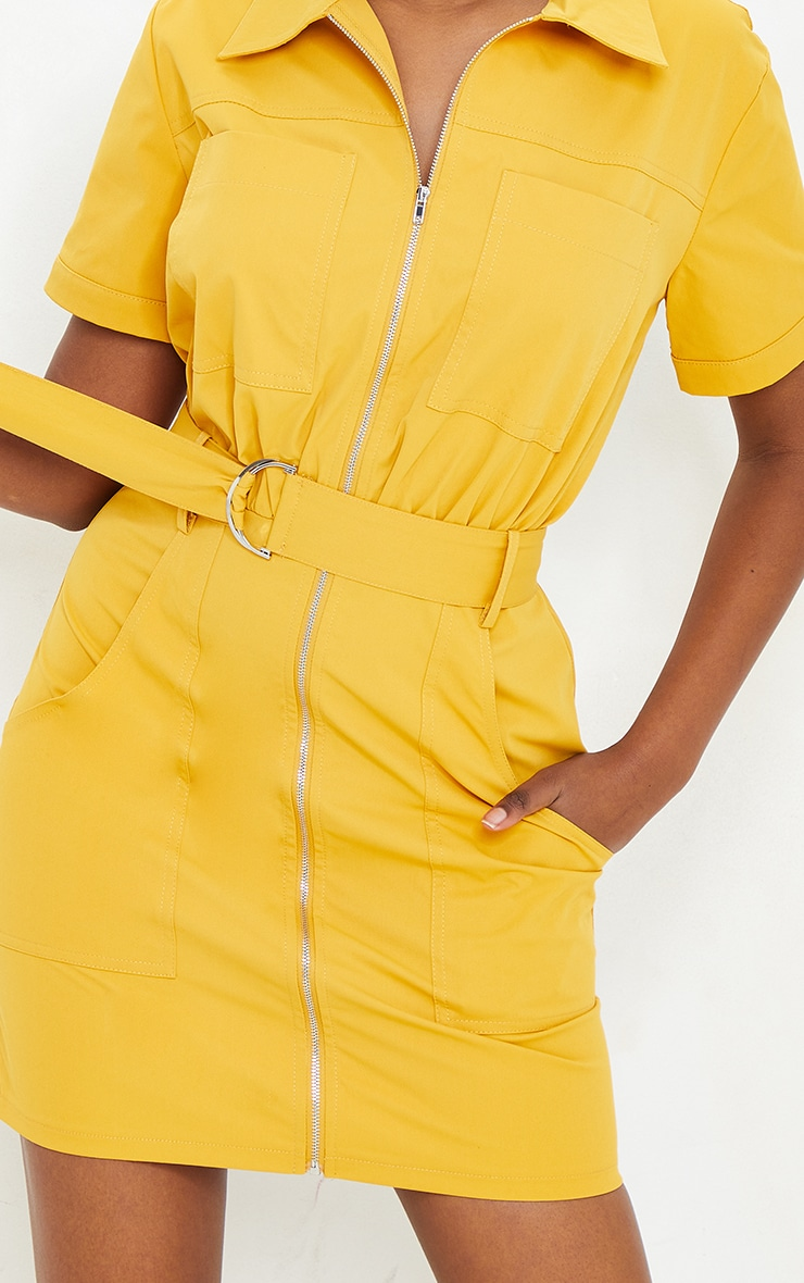 Mustard Woven Zip Through Belted Utility Shirt Dress 4