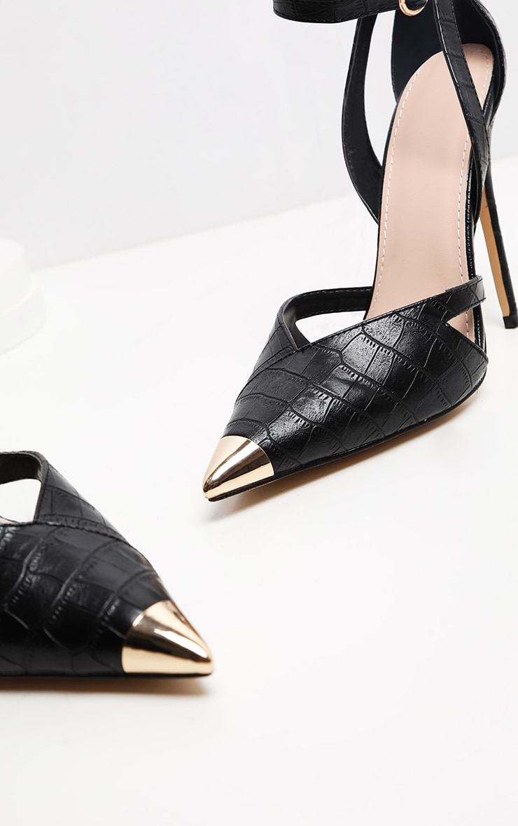 Black Cut Out Heel Metal Toe Court Shoe 4