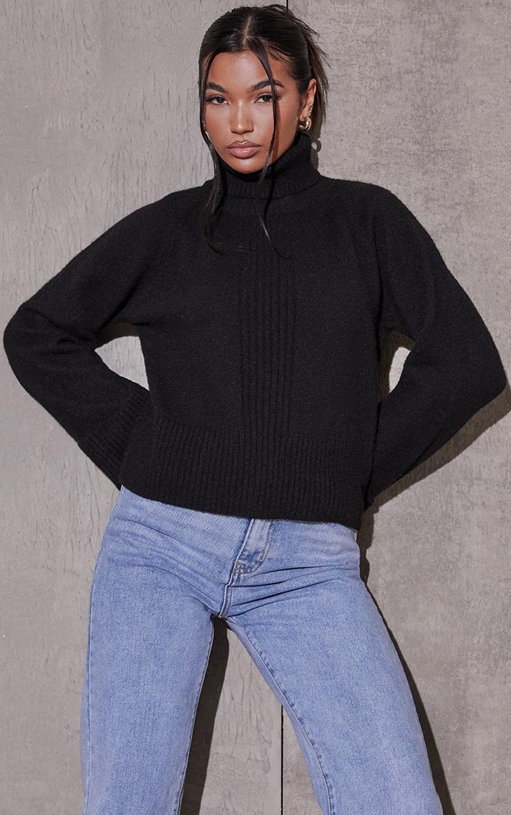 Black Deep Cuff Roll Neck Sweater 1