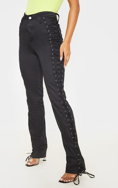 Black Lace Woven Eyelet Lace Up Detail Straight Leg Trouser