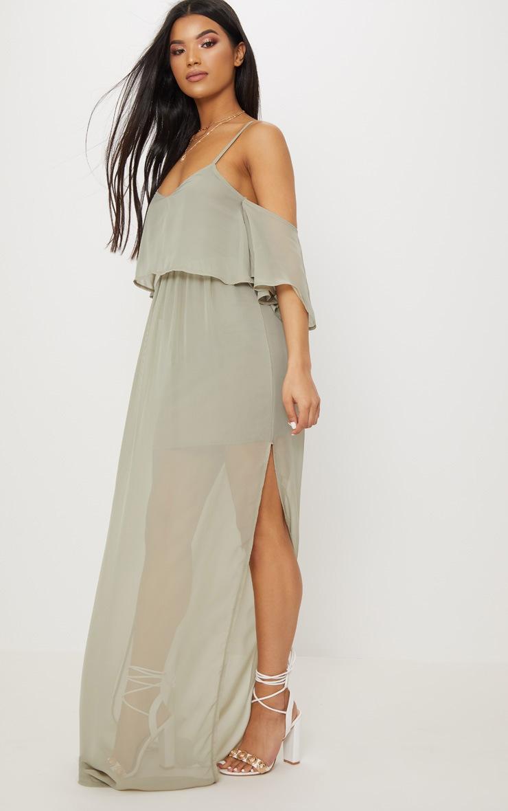 Sage Green Chiffon Layered Cold Shoulder Maxi Dress 4