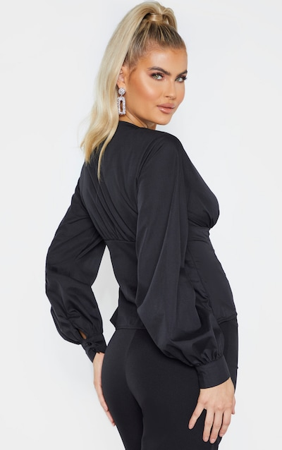 Tall Black Plunge Button Detail Full Sleeve Shirt Blouse