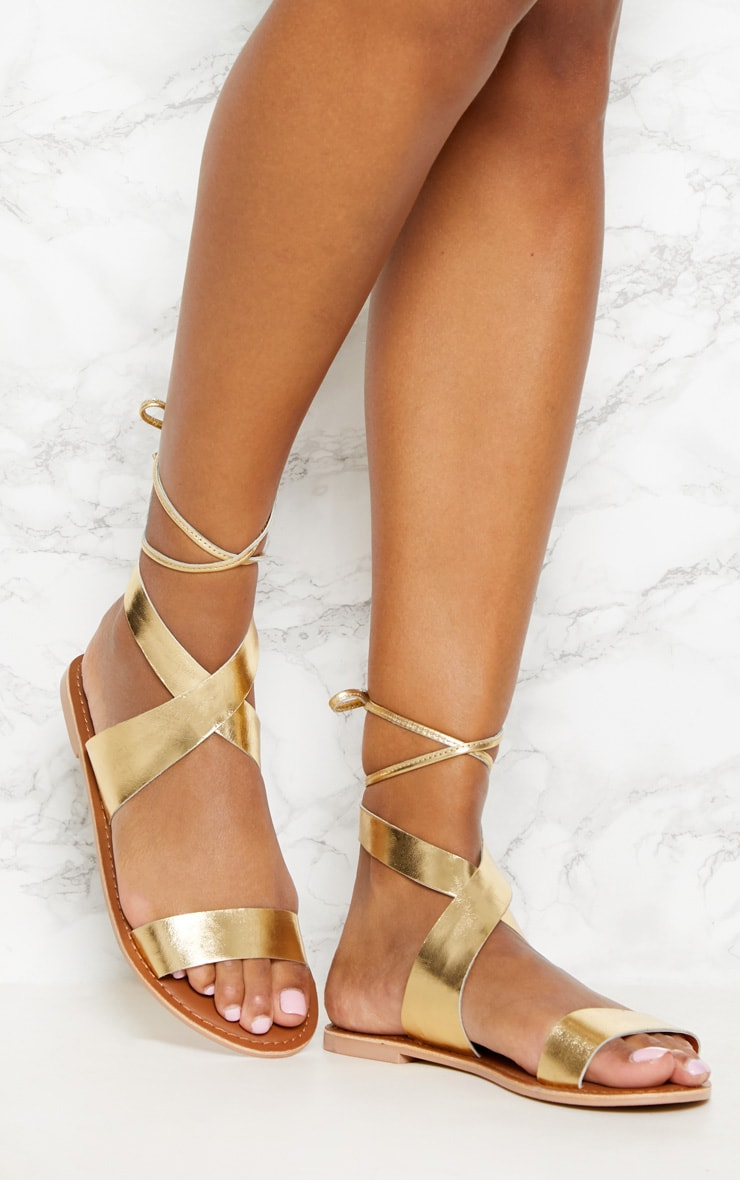 Gold Leather Basic Sandal 1