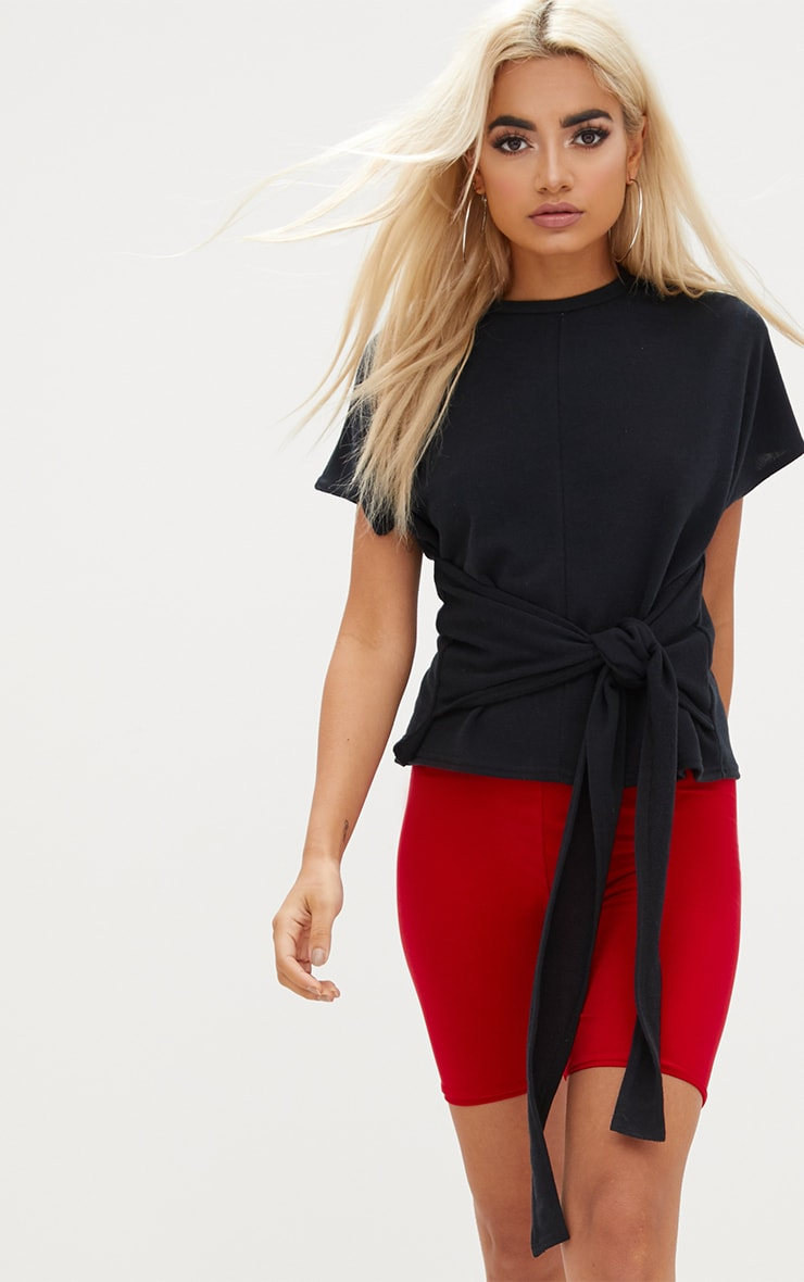 Black Short Sleeve Tie Waist Sweater 1