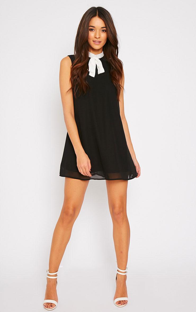 Charlotte Black Neck Tie A Line Dress 3