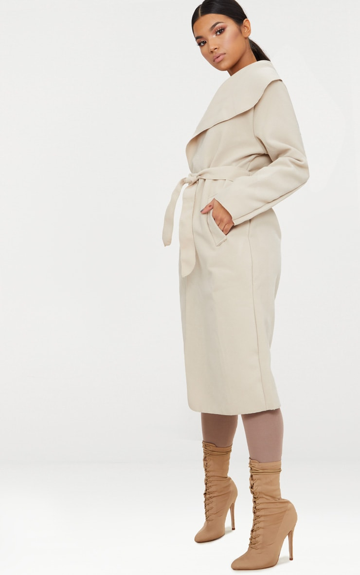 Beige Oversized Waterfall Belt Coat