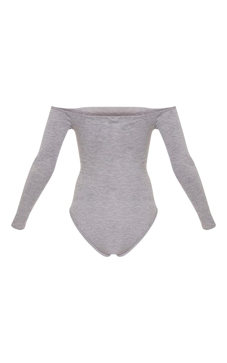 Basic Grey Marl Bardot Bodysuit 4