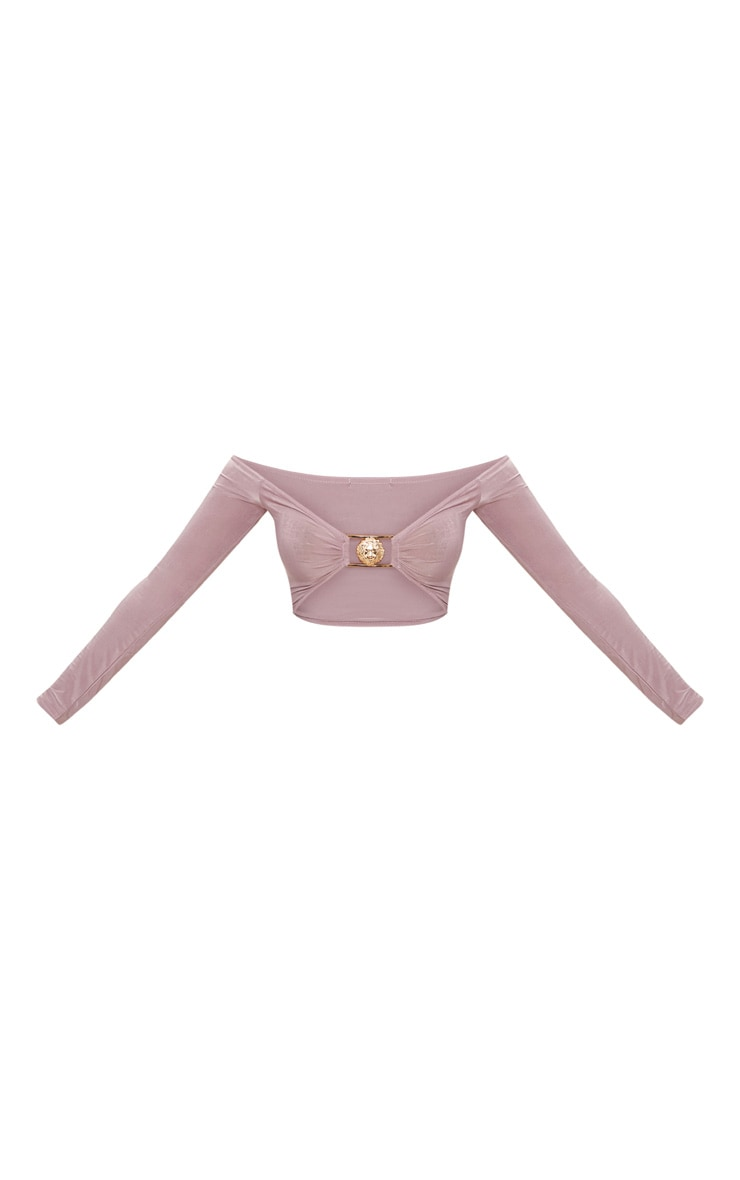 Shape Mauve Slinky Lion Trim Plunge Crop Top 3