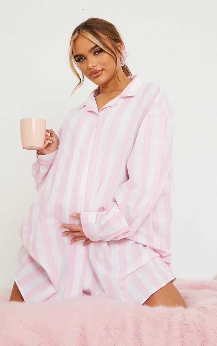 Maternity Pink Oversized Stripe Night Shirt  1
