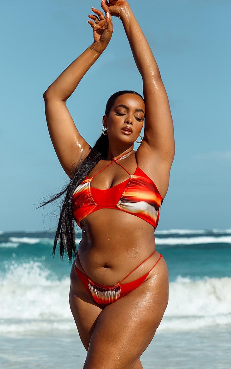 Plus Orange Ombre Double Layer Mesh Bikini Top 1