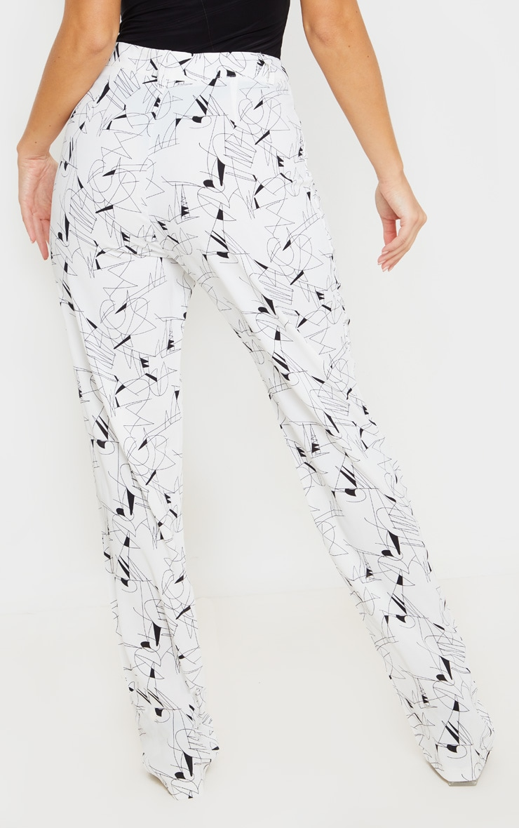 White Printed Straight Leg Trouser 4
