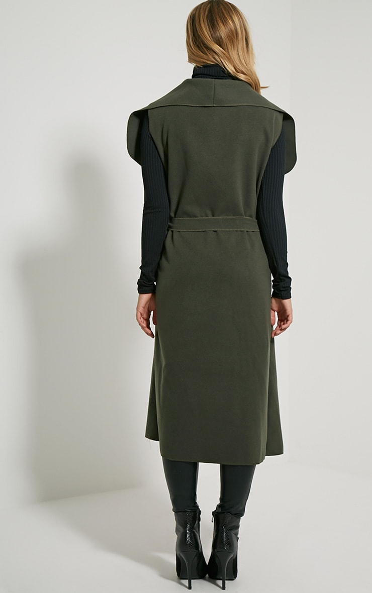 Valerie Dark Khaki Sleeveless Waterfall Coat 2