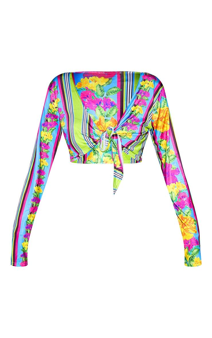 Plus Blue Floral Stripe Tie Front Crop Top 3