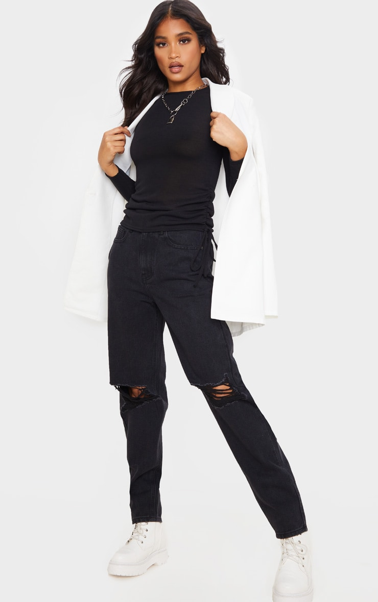 Black Cotton Ruched Side Long Sleeve Top 3
