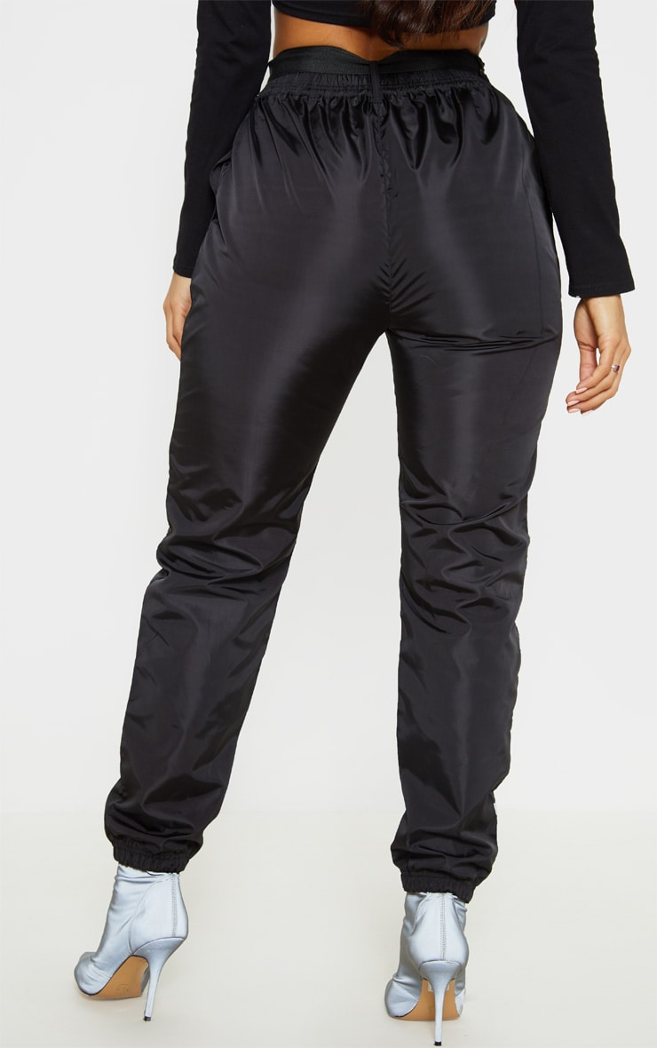 Black Shell Reflective Tape Belt Detail Jogger 4