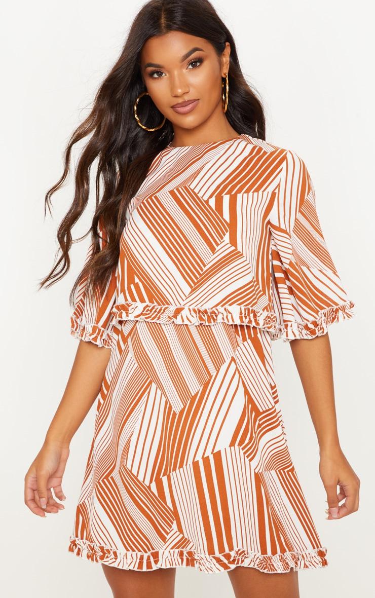 Burnt Orange Geometric Ruffle Smock Dress 1