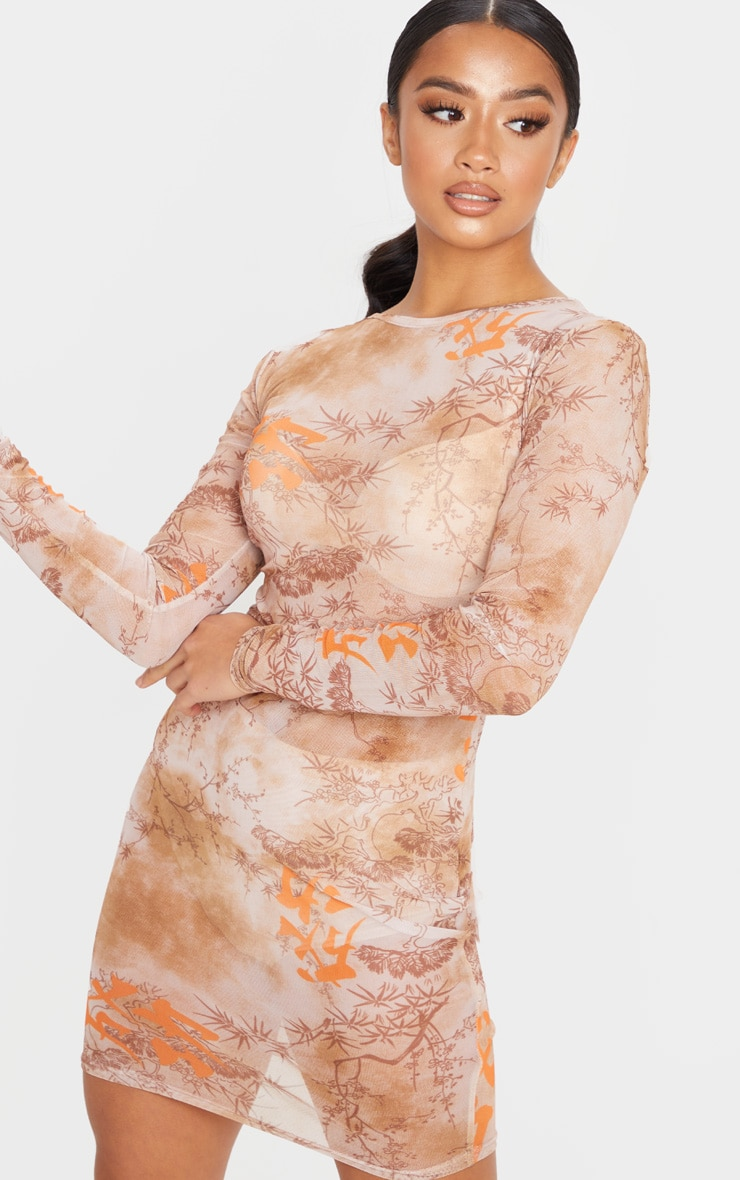 Petite Nude Long Sleeve Oriental Mesh Bodycon Dress  3