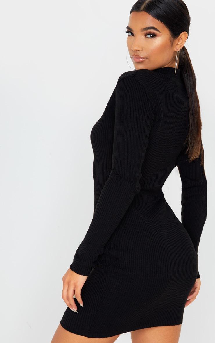 Black High Neck Zip Front Rib Knit Dress 2