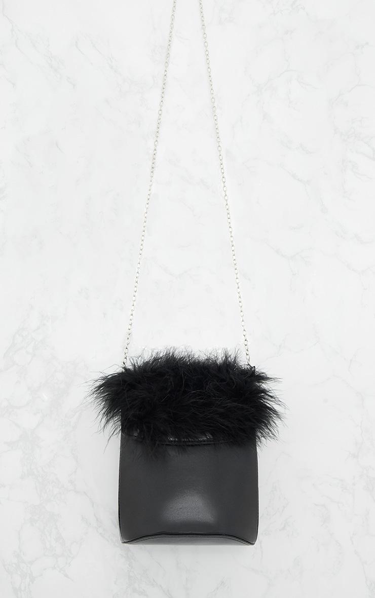 Black Feather Trim Bucket Bag 3