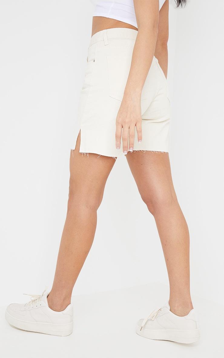 Ecru Longline Split Hem Detail Shorts 3