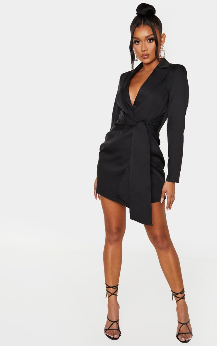 Black Wrap Detail Blazer Dress 4