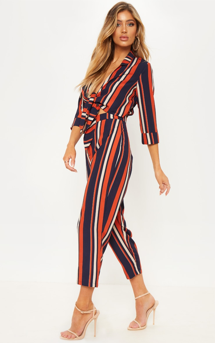 Burnt Orange Stripe Tie Detail Jumpsuit 4