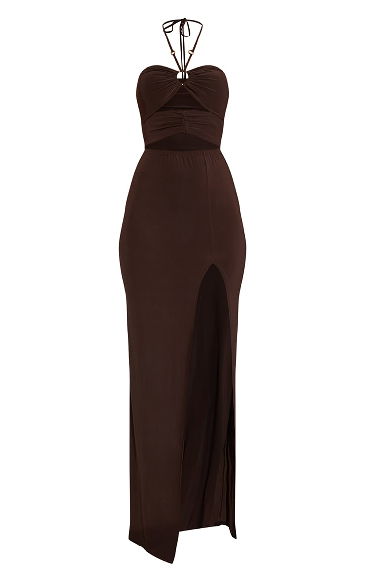 Chocolate Slinky Ring Detail Cut Out Halterneck Maxi Dress 5