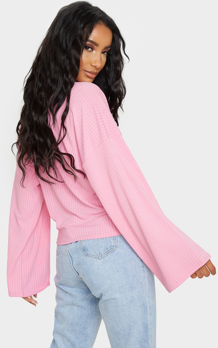 Pink Roll Neck Oversized Sweater 2