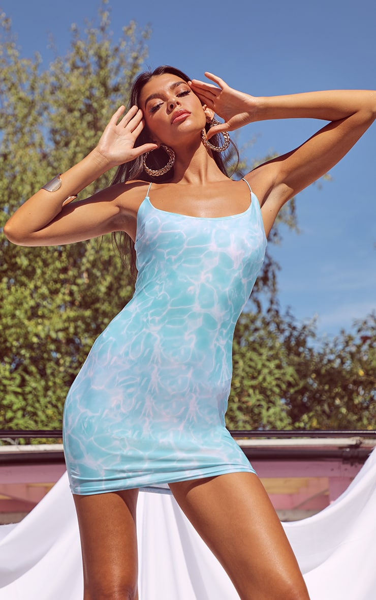 Blue Marble Print Slinky Spaghetti Strap Bodycon Dress 1