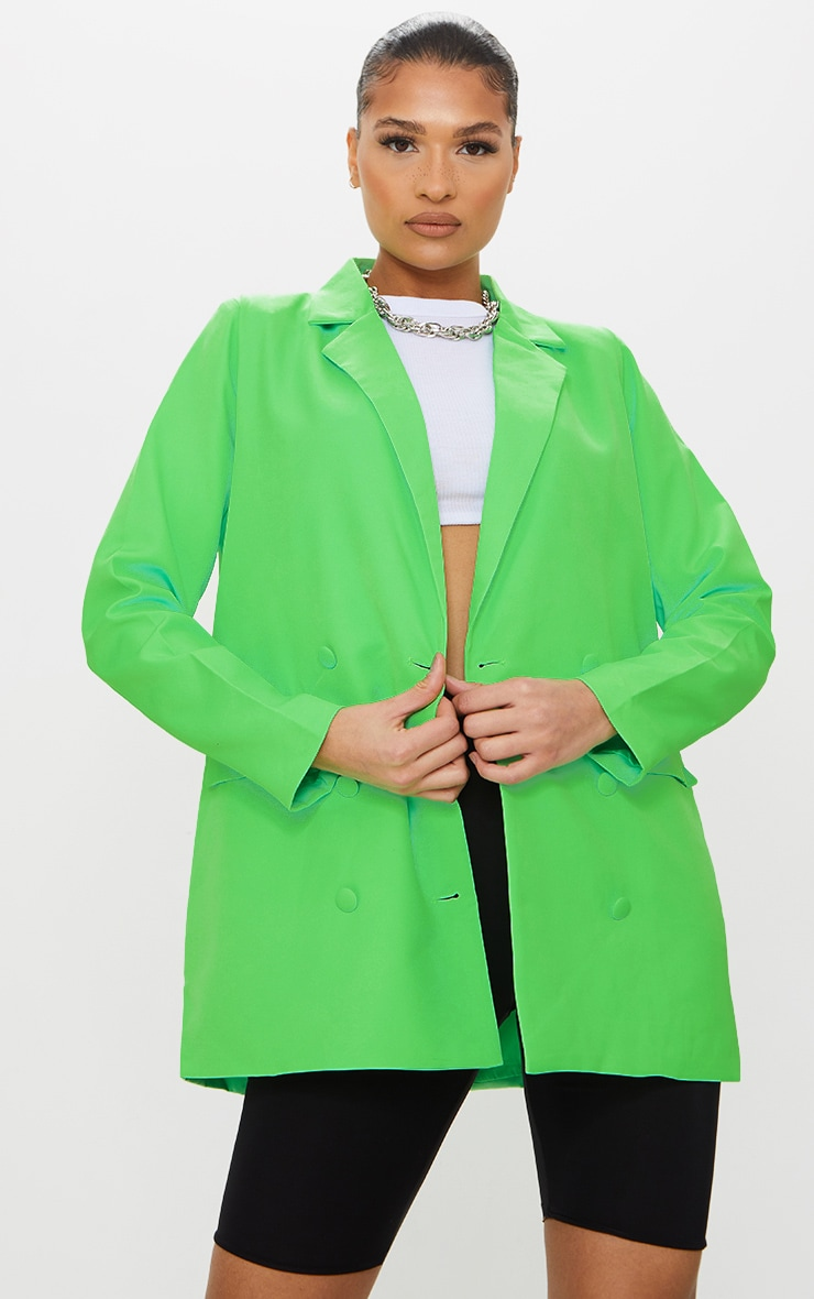 Bright Green Oversized Double Breasted Covered Button Blazer 3