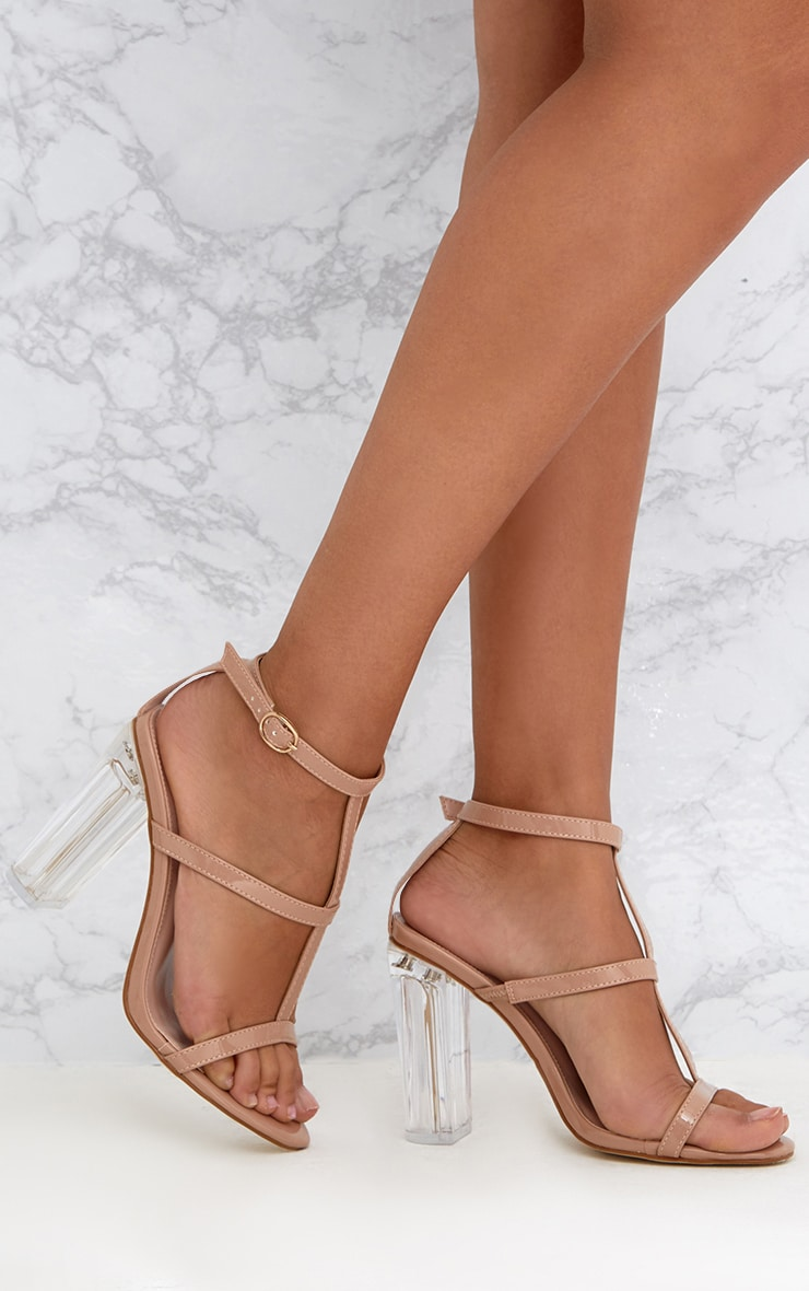 6ea536d0f4562 Nude Clear Heel Caged Sandals. Shoes